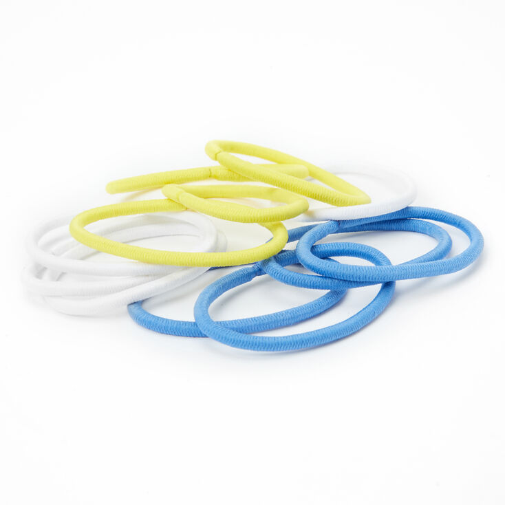 Blue, White & Yellow Hair Bobbles - 12 Pack,