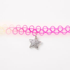 Claire's Club Star Choker Necklace - Rainbow,