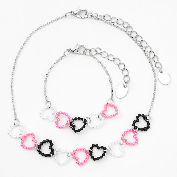 Claire's Club Silver Heart Link Jewelry Set - 2 Pack,
