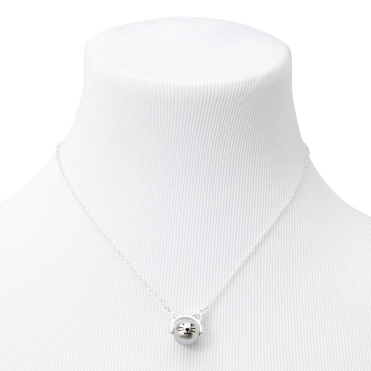 Silver Swivel Cat Pendant Necklace,