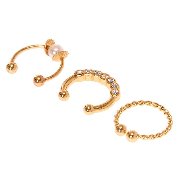 Faux piercings cartilage tressés couleur dorés et à strass,