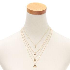Gold Horn Multi Strand Pendant Necklace,