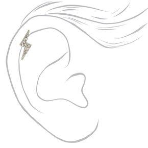 Silver Crystal Lightning Bolt Cartilage Earrings - 3 Pack,