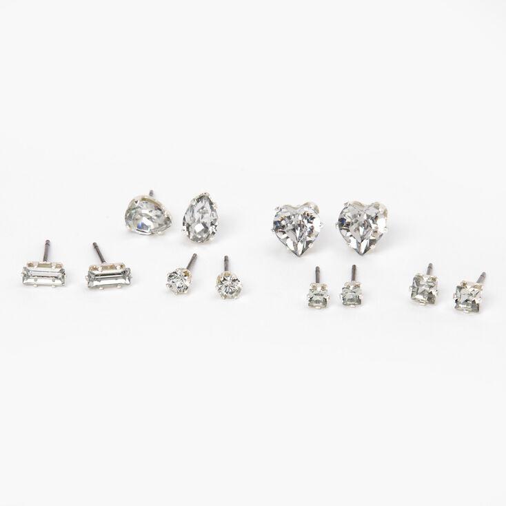 Silver Mixed Crystal Shape Stud Earrings - 6 Pack,
