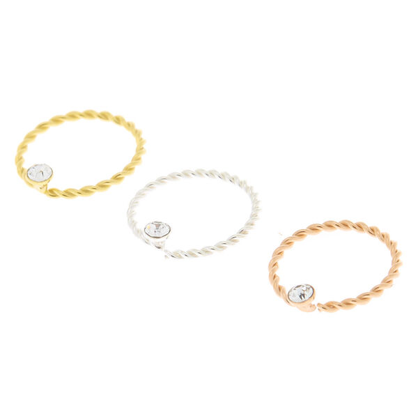 Claire's - sterling mixed metal 22g twisted nose rings - 1