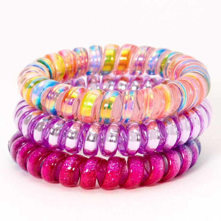 Claire's Club Unicorn Spiral Hair Ties - 3 Pack,
