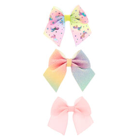 Claire's Club Unicorn Bow Hair Clips - 3 Pack,