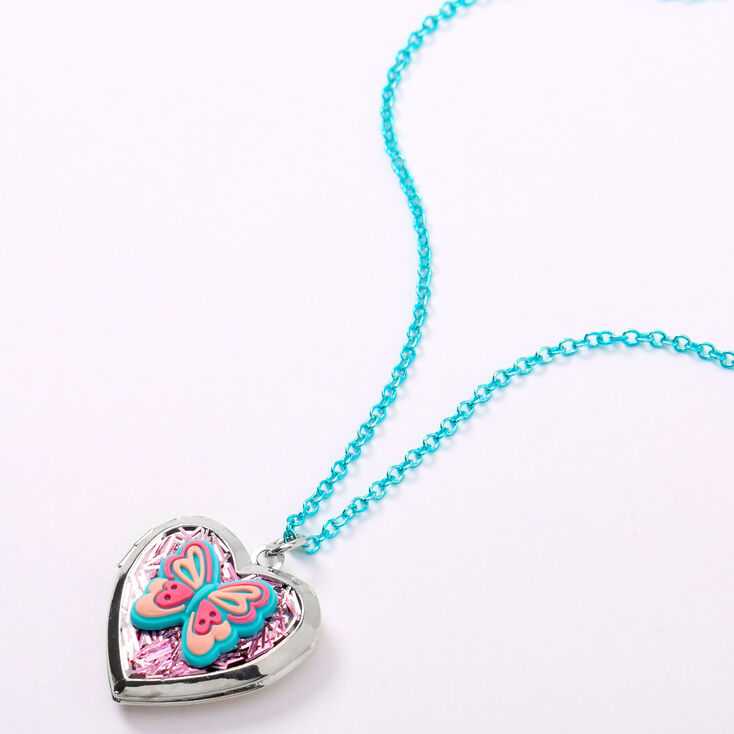 Claire's Club Butterfly Locket Necklace - Blue,