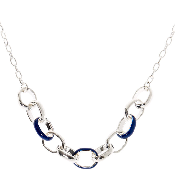 Collier de caractère maillons de chaîne émail couleur argentée - Bleu marine,