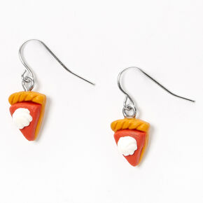 "Silver 0.5"" Pumpkin Pie Drop Earrings,"