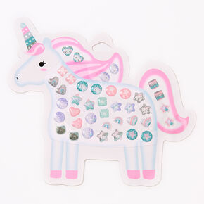 Claire's Club Unicorn Stick On Earrings - 40 Pack,