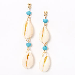 "Gold 3"" Cowrie Shell Linear Drop Earrings - Turquoise,"
