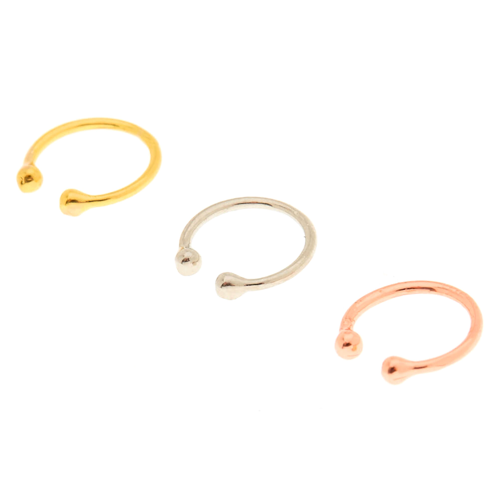 Mixed Metal Faux Nose Rings 3 Pack