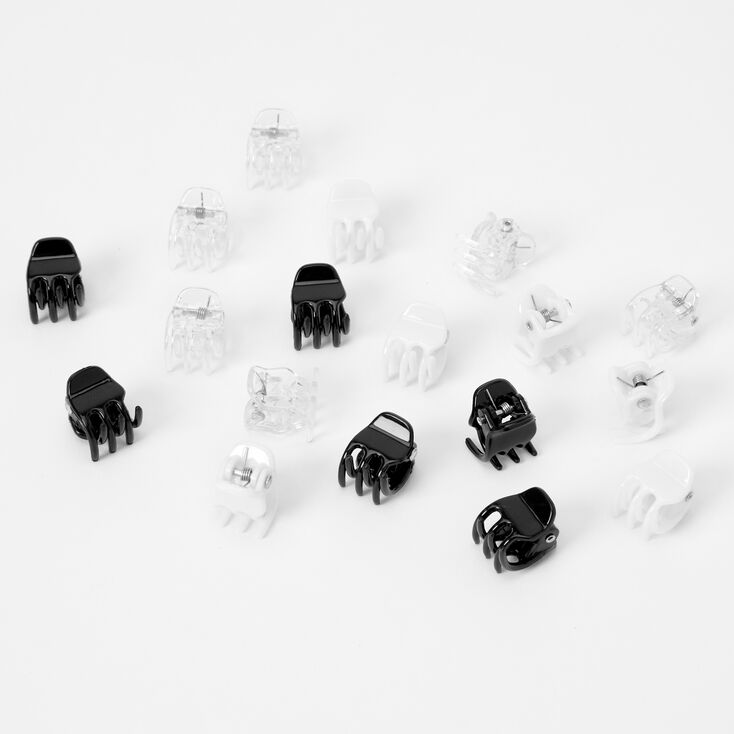 Clear, Black, & White Mini Hair Claws - 18 Pack,
