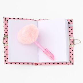 Panda Hearts Shaker Mini Lock Diary - Pink,