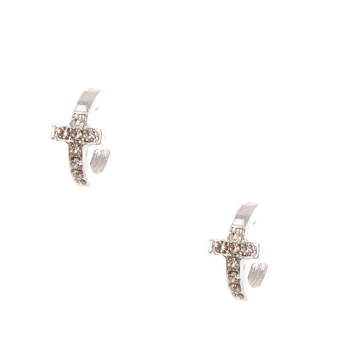 10mm Silver Tone Mini Cross Hoop Earrings
