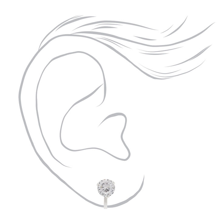 Silver Cubic Zirconia Round Clip On Stud Earrings - 7MM,
