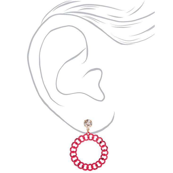 """Gold 2"""" Paint Splatter Chain Link Drop Earrings - Pink,"""