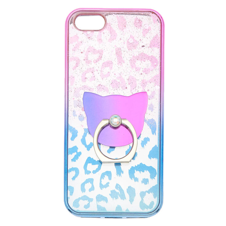 Ombre Leopard Ring Holder Phone Case - Fits iPhone 5/5S,