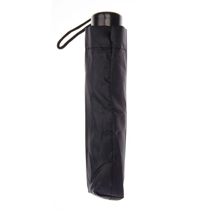 Plain Black Compact Umbrella,
