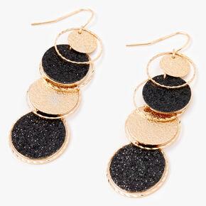 Gold & Black Sandblasted Discs Linear Drop Earrings,