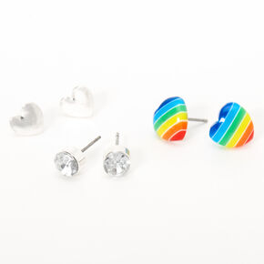 Silver Rainbow Hearts Stud Earrings - 3 Pack,