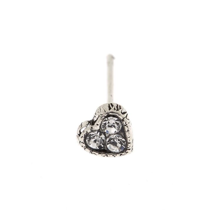 Silver 22G Stone Heart Nose Stud,