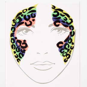 Rainbow Leopard Face Stickers,