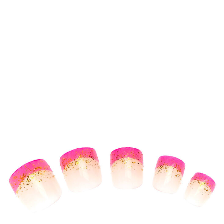 Gold Glitter Pink French Tip Press-on False Nails | Claire\'s