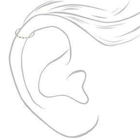 Anneaux de cartilage torsadés feuille 22g couleur argentée - Lot de 3,