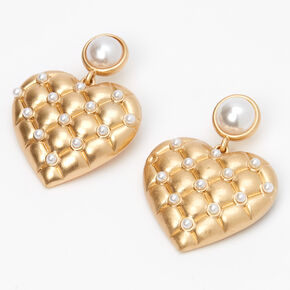 "Gold 1"" Quilted Pearl Heart Drop Earrings,"