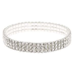 Silver Rhinestone Stretch Bracelet,