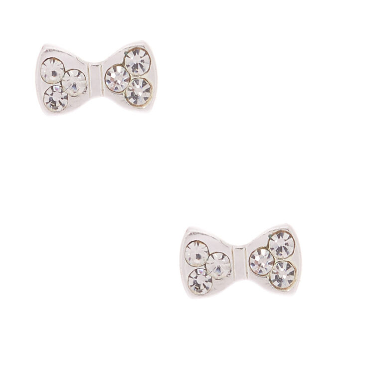 3b75ab5e9 Sterling Silver Mini Bow Stud Earrings | Claire's