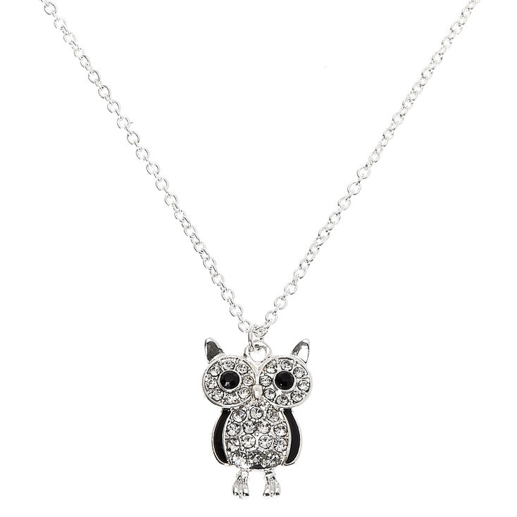 Silver Owl Pendant Necklace,