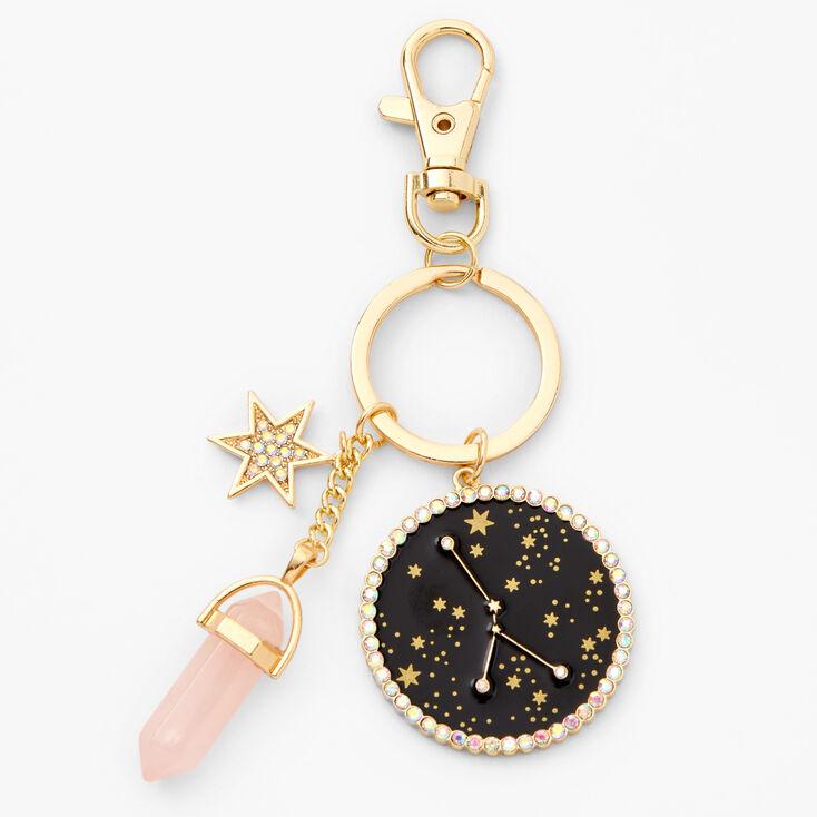 Gold Healing Crystal Zodiac Keyring - Cancer,