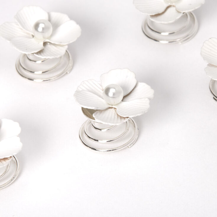 Poppy Flowers Hair Spinners - White, 6 Pack,