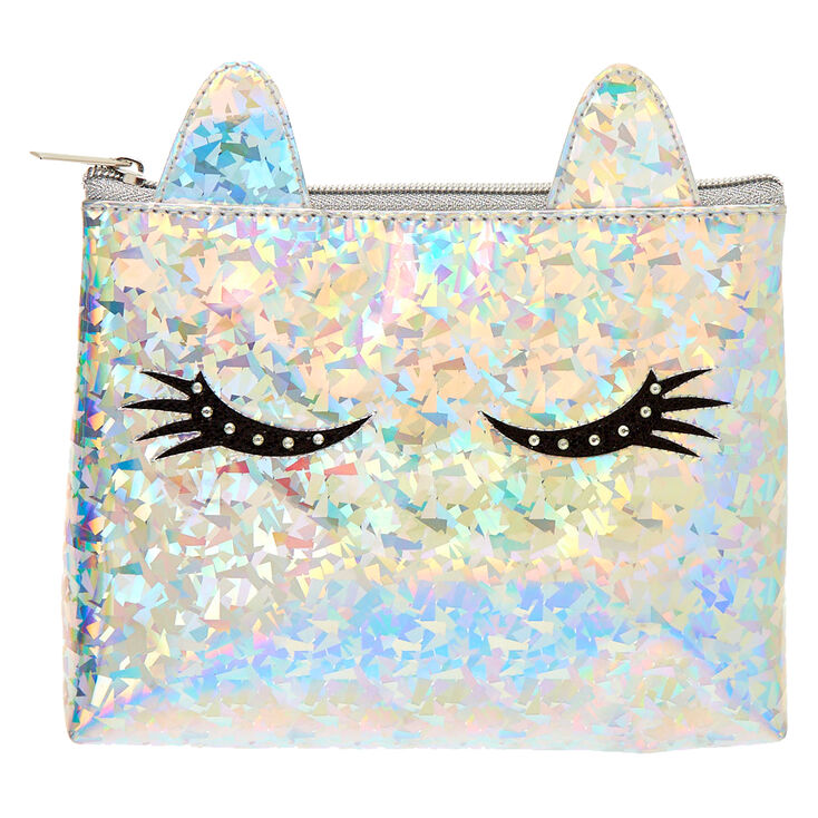 Holographic Unicorn Eyelashes Makeup Bag - Silver,