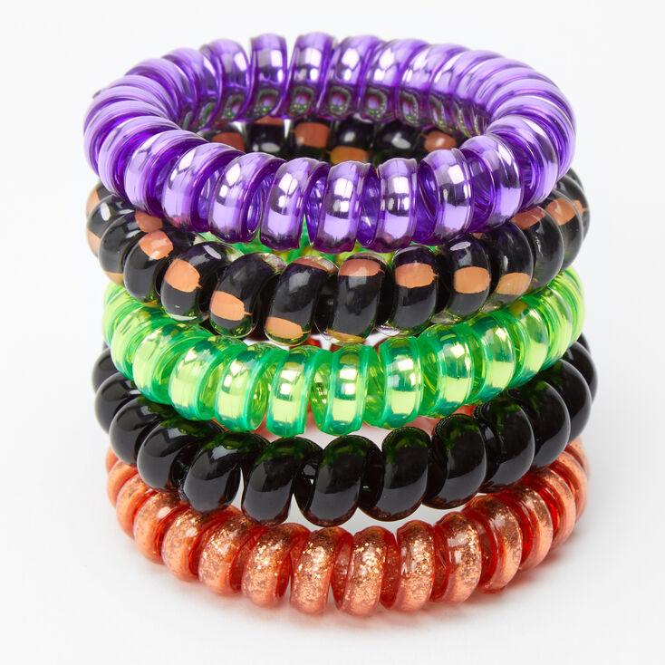 Halloween Spiral Hair Ties - 5 Pack,