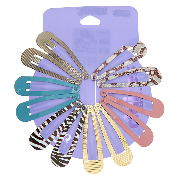 Textured Animal Print Snap Hair Clips - 12 Pack,