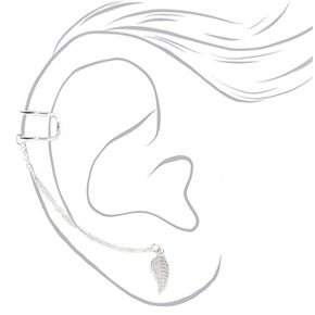 Sterling Silver Leaf Double Cuff Connector Earring,