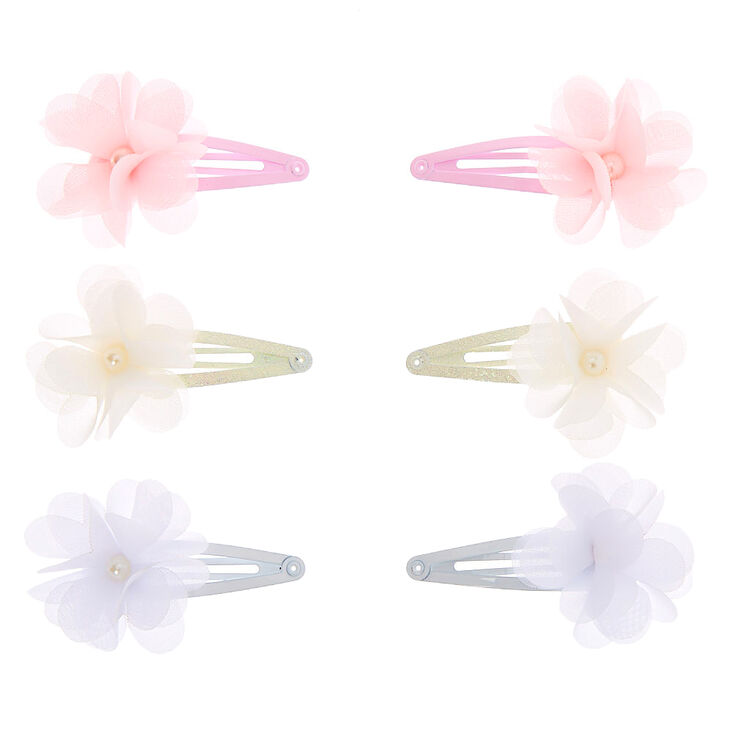 Claire's Club Chiffon Bow Snap Hair Clips - 6 Pack,