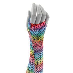 Rainbow Leopard Print Fishnet Arm Warmers,