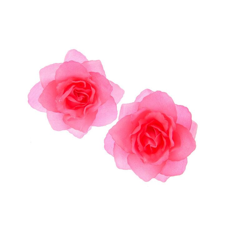 Lot de 2 barrettes florales avec roses rose fluo,