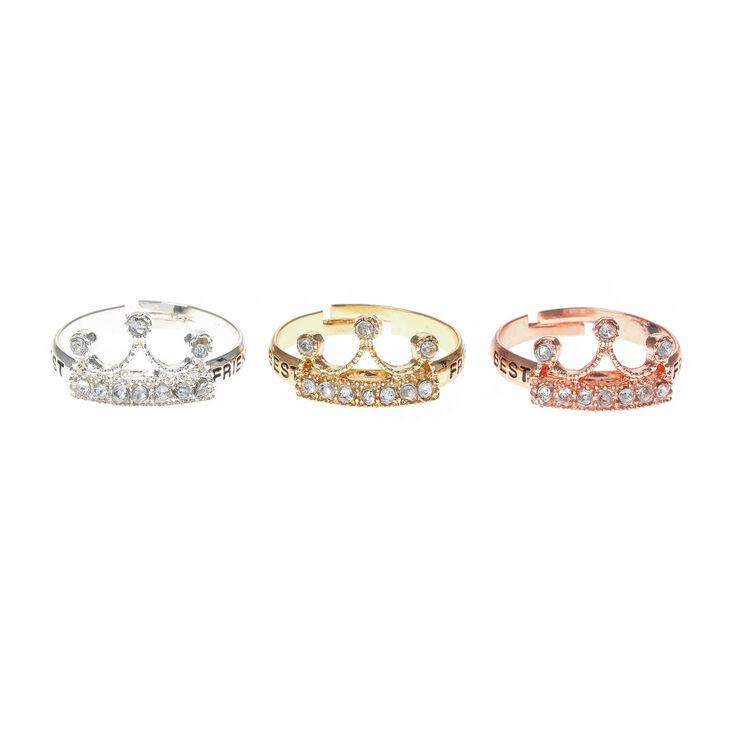 3 Pack Best Friend Crown Rings,