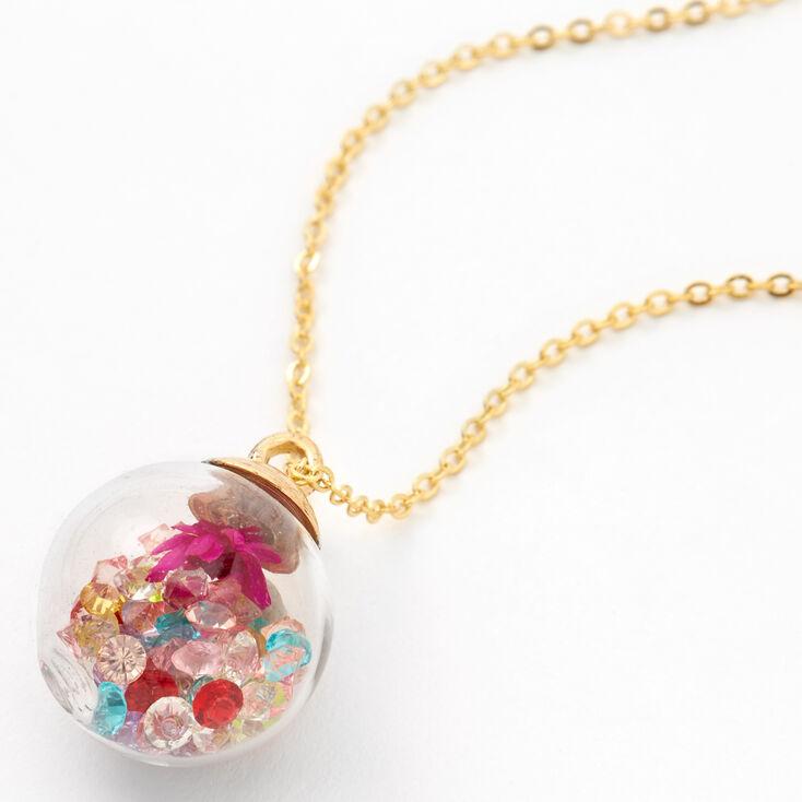 Rainbow Gem Shaker Pendant Necklace,