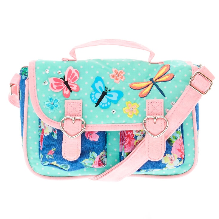 09f3bfc9e2b7 Kids Pastel Butterfly Messenger Bag   Claire's