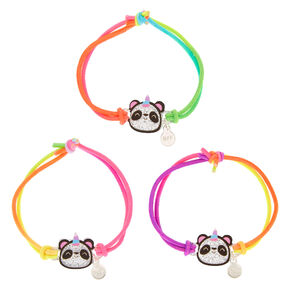 Neon Glitter Panda Stretch Friendship Bracelets - 3 Pack,