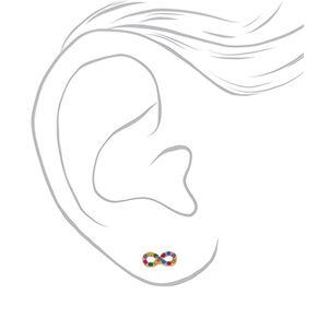 Gold Rainbow Crystal Infinity Stud Earrings,