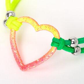 Glitter Heart Ombre Stretch Bracelet,
