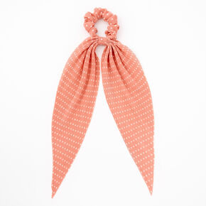 Small Polka Dot Pleated Scarf Hair Scrunchie - Peach,